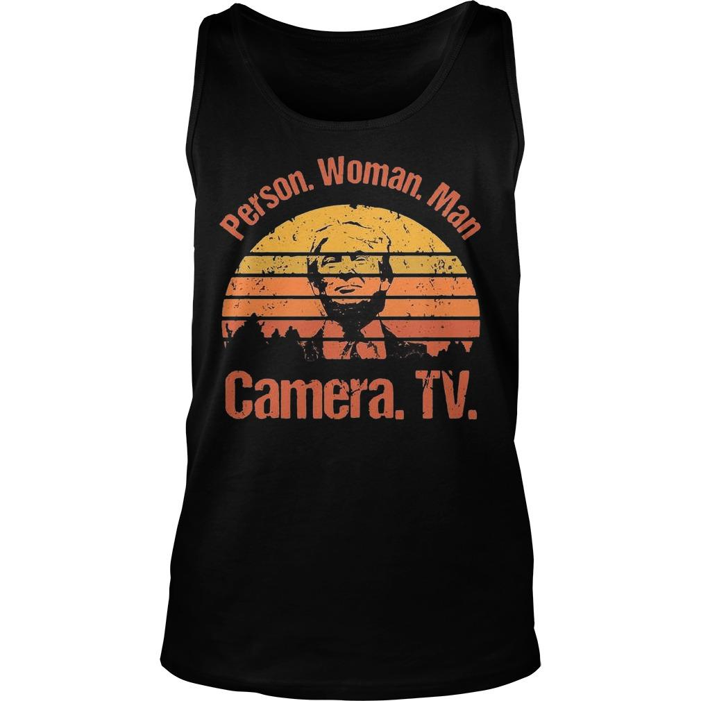 Vintage Donald Trump Person Woman Man Camera Tv Tank Top