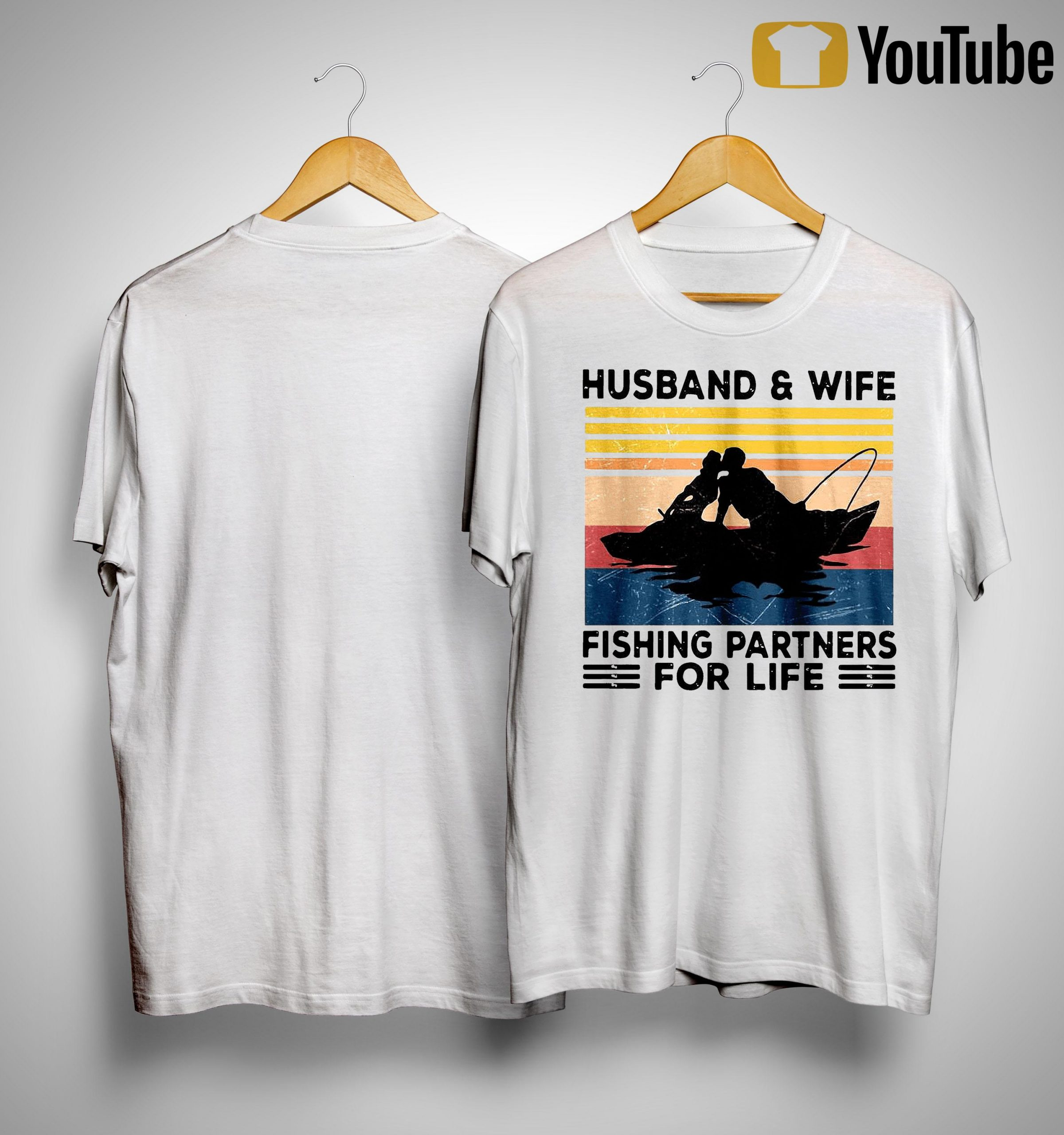 Vintage Husband And Wife Fishing Partners For Life Shirt