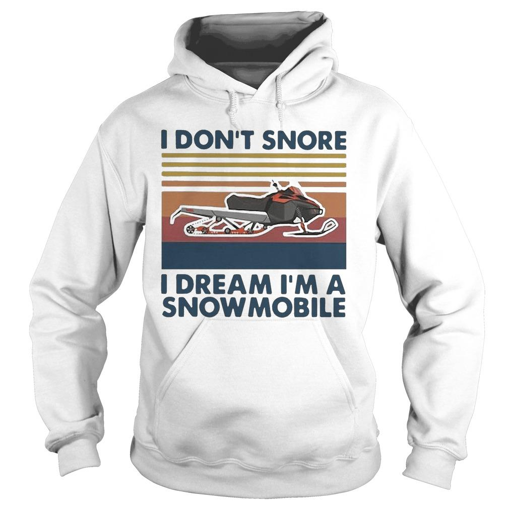 Vintage I Don't Snore I Dream I'm A Snowmobile Hoodie