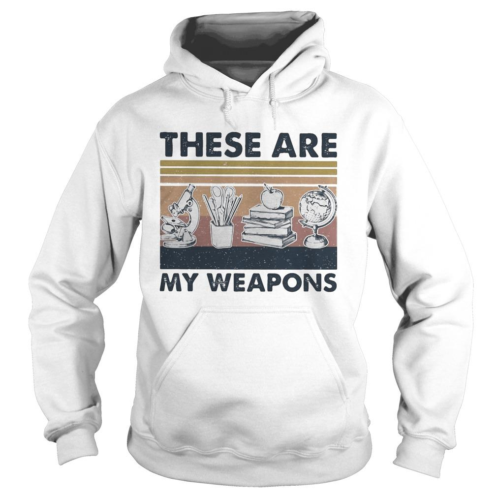 Vintage Microscope Earth Model Pen Box Apple Book These Are My Weapons Hoodie