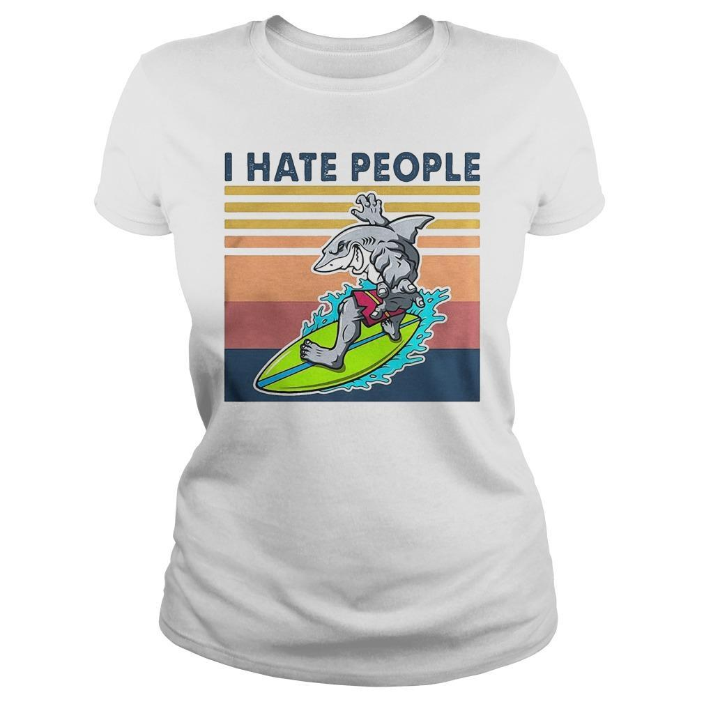 Vintage Shark Surfing I Hate People Longsleeve