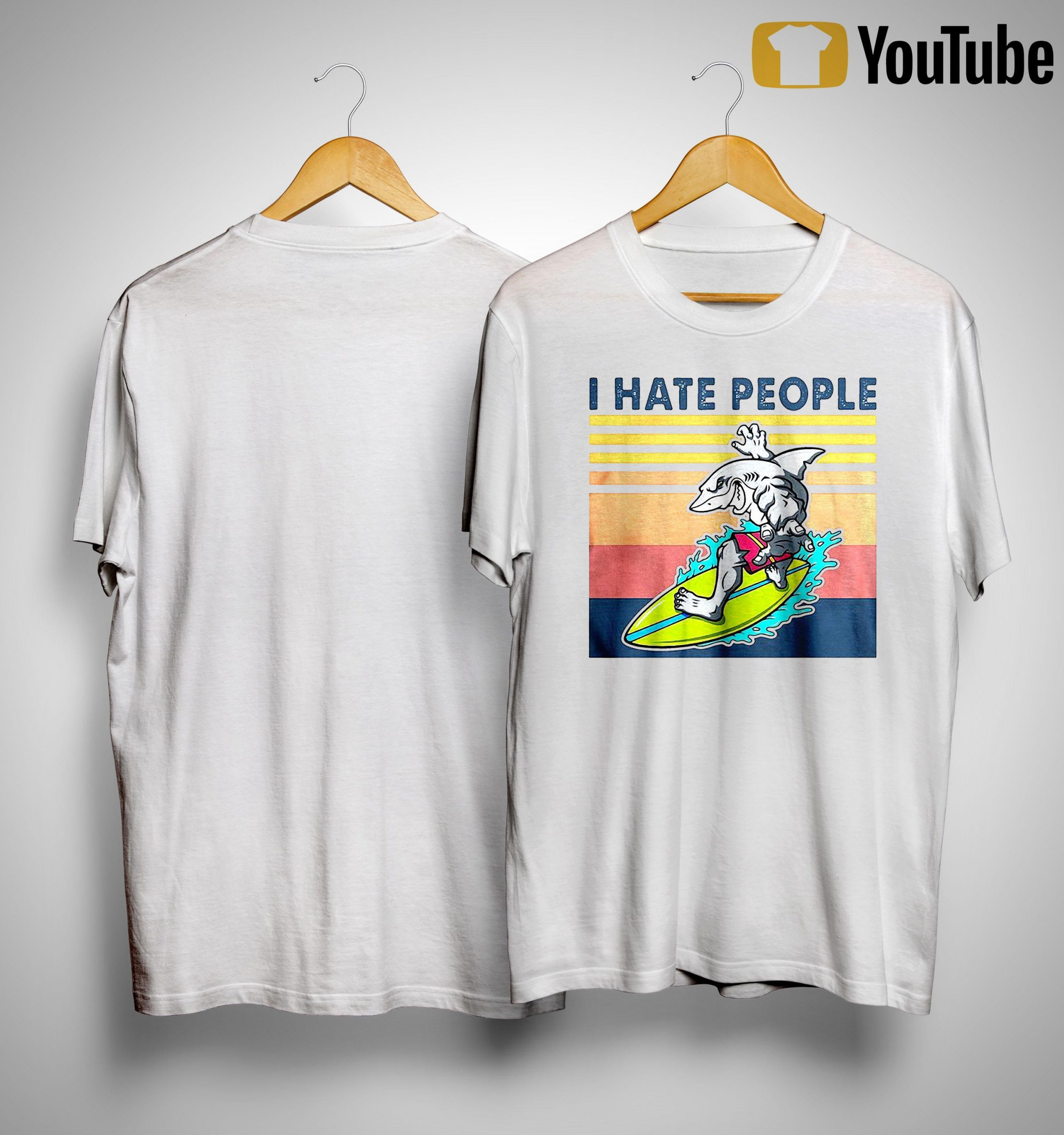 Vintage Shark Surfing I Hate People Shirt