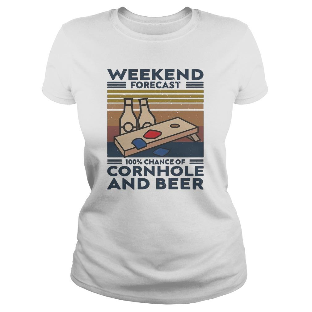 Vintage Weekend Forecast 100% Chance Of Cornhole And Beer Longsleeve