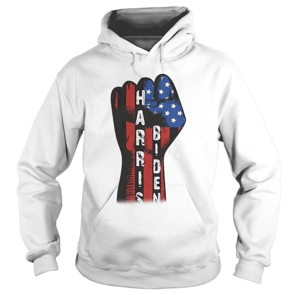 American Flag Strong Hand Biden Harris Hoodie