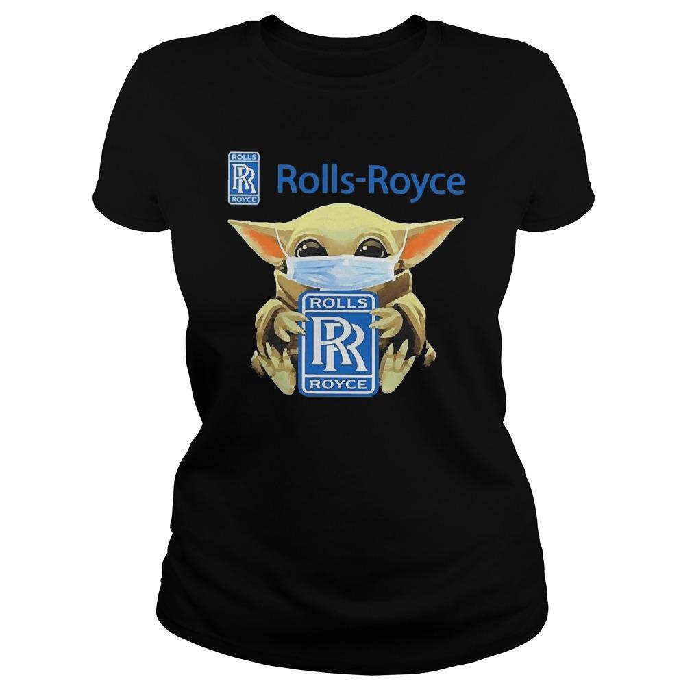 Baby Yoda Face Mask Hugging Rolls Royce Longsleeve