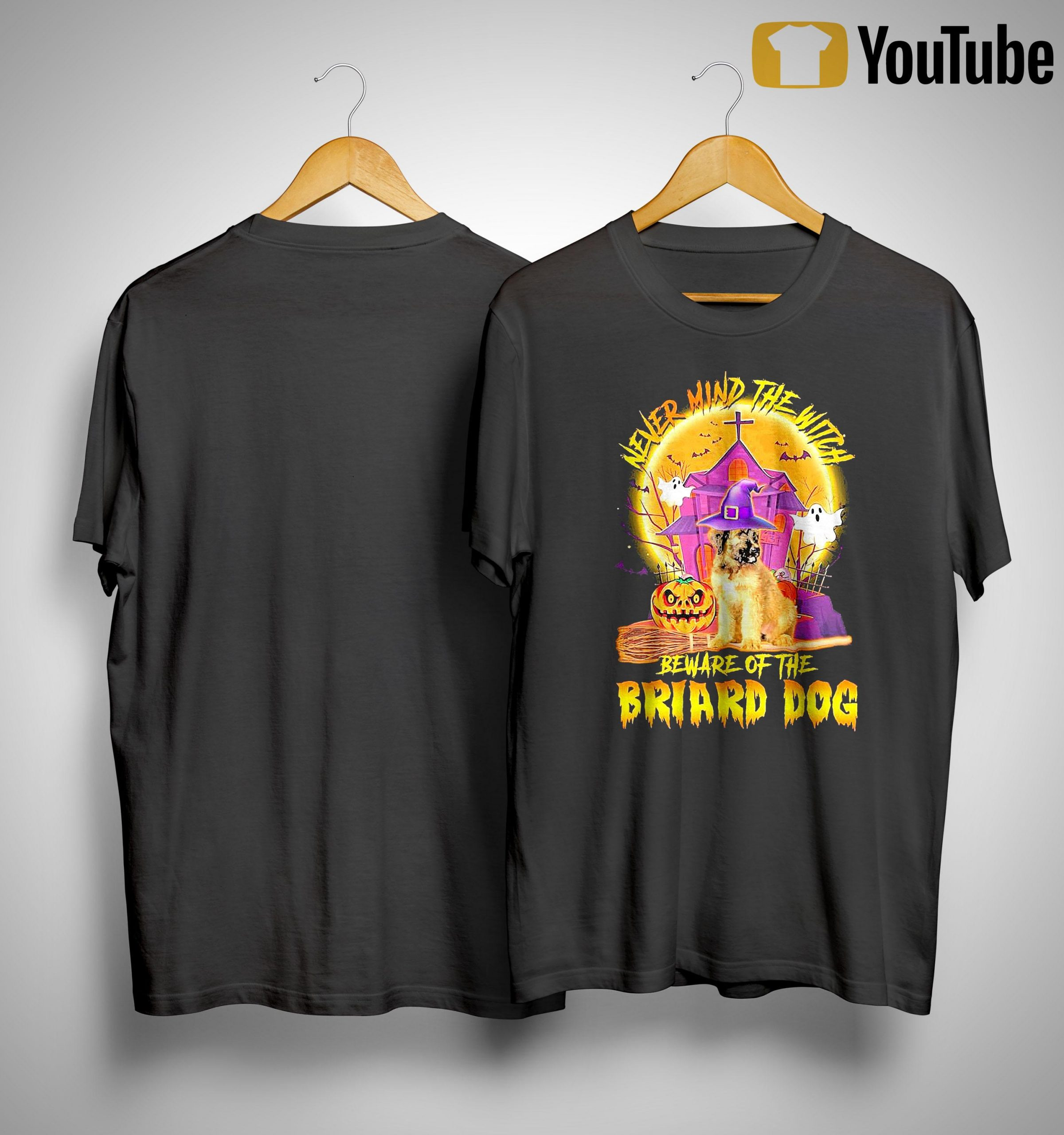 Halloween Never Mind The Witch Beware Of The Briard Dog Shirt