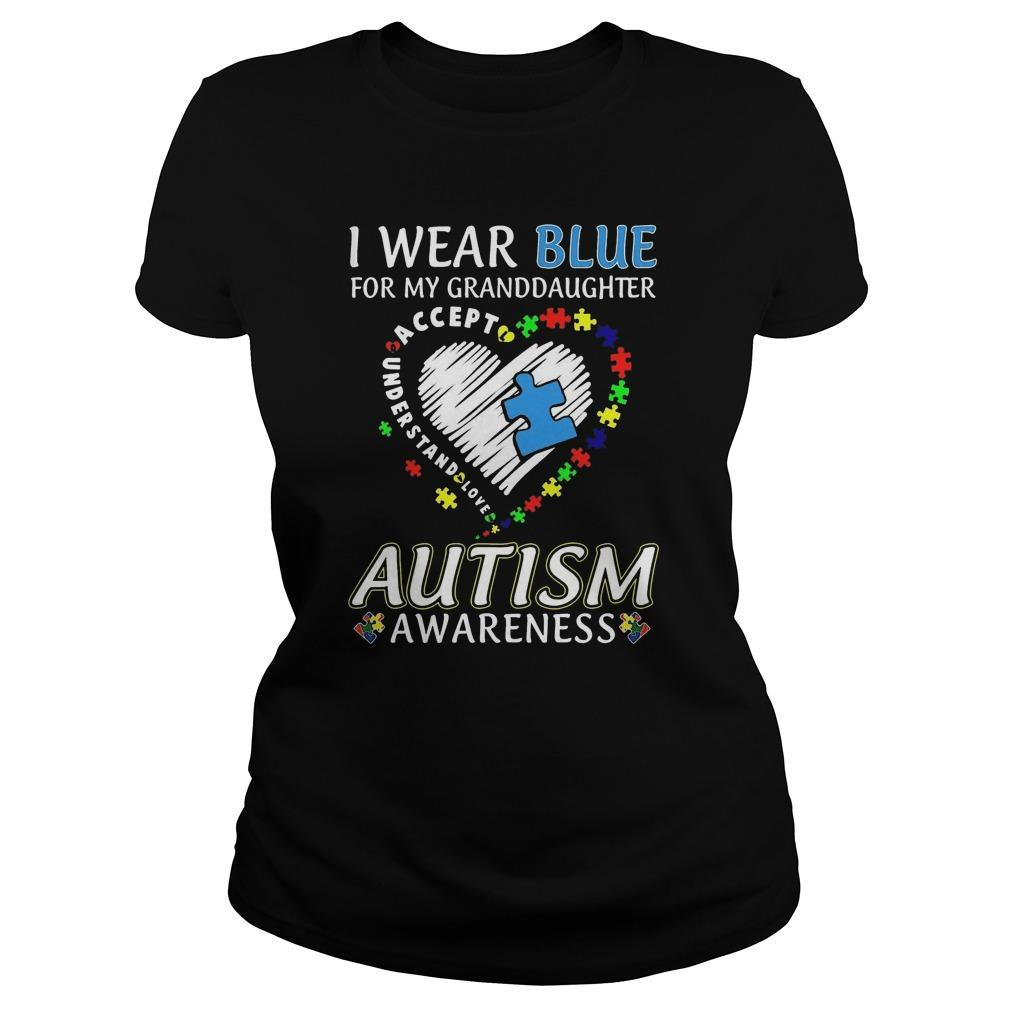 I Wear Blue For My Granddaughter Accept Understand Love Autism Awareness Tank Top