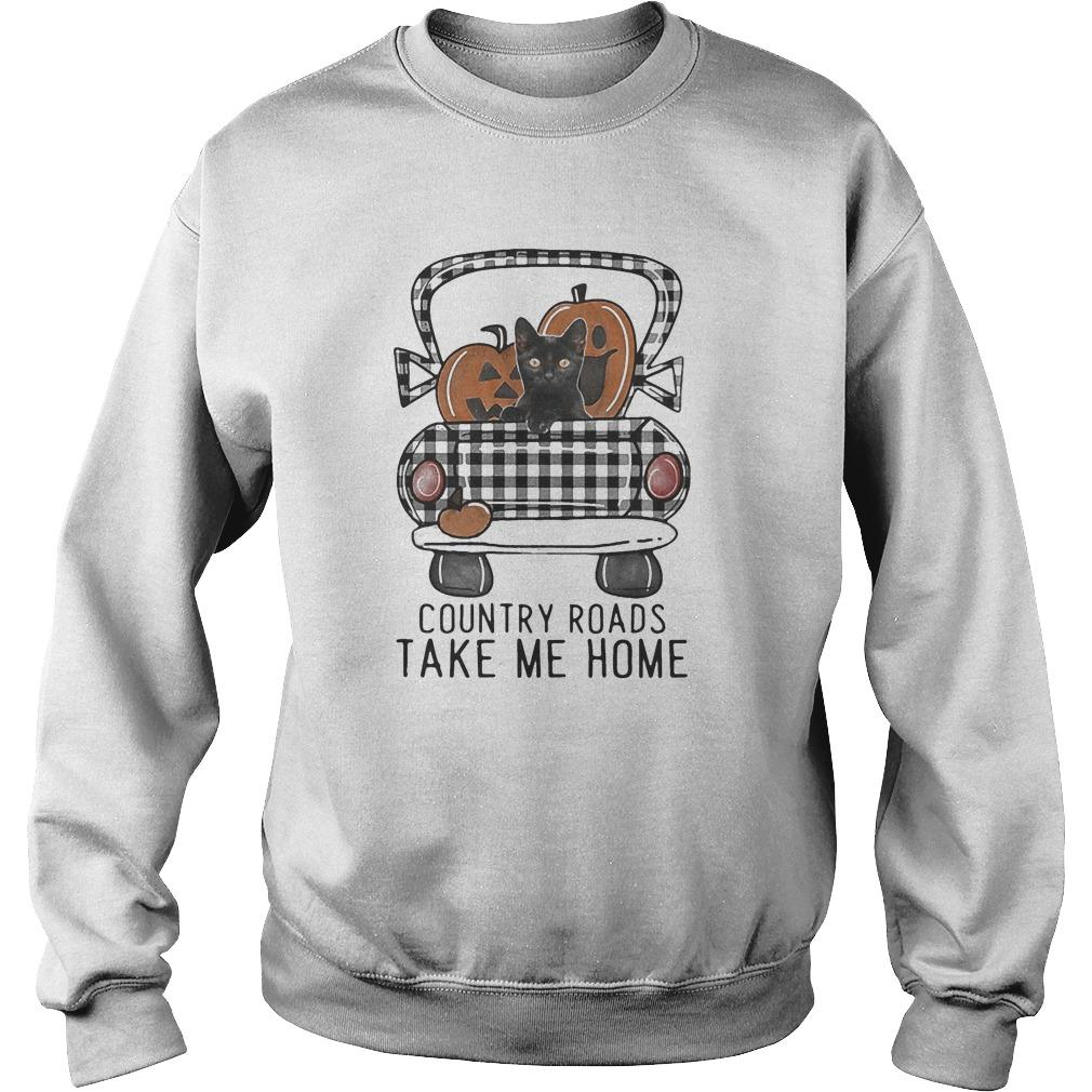 Pumpkin Cat Halloween Country Roads Take Me Home Sweater