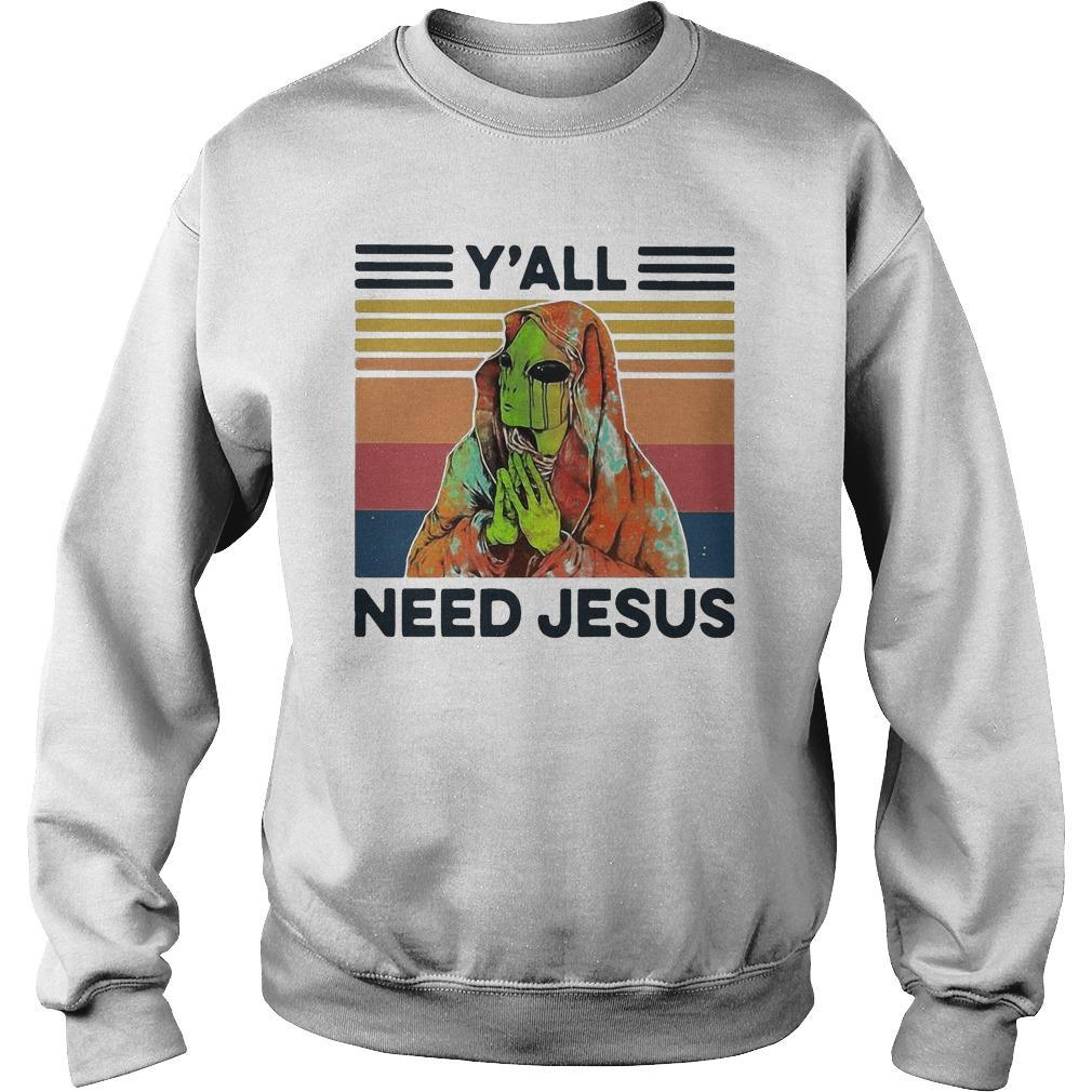 Vintage Alien Y'all Need Jesus Sweater