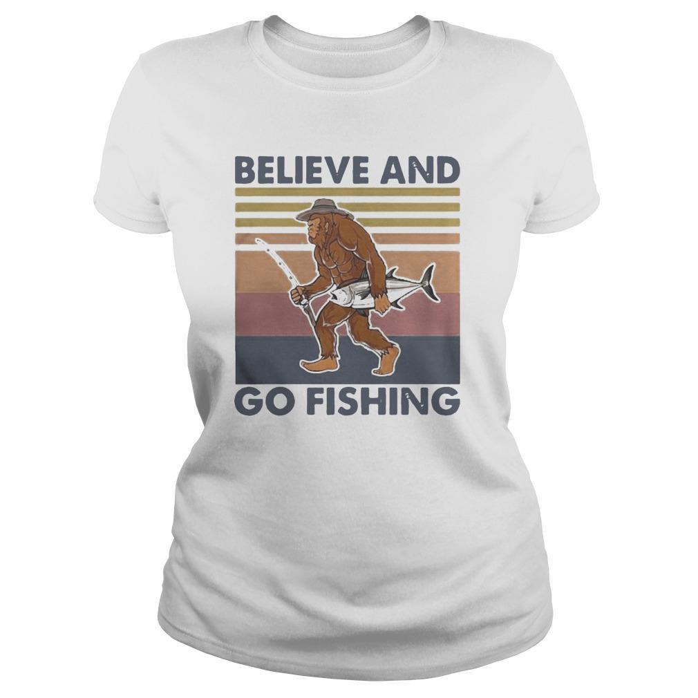 Vintage Bigfoot Believe And Go Fishing Longsleeve