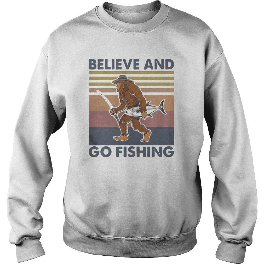 Vintage Bigfoot Believe And Go Fishing Sweater
