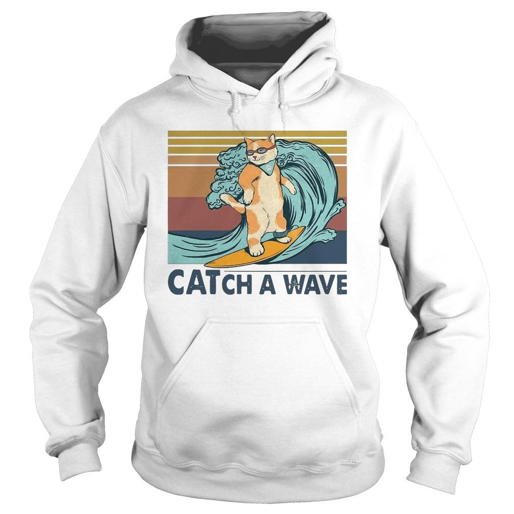 Vintage Cat Surfing Catch A Wave Hoodie