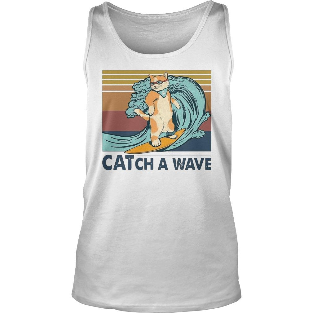 Vintage Cat Surfing Catch A Wave Tank Top