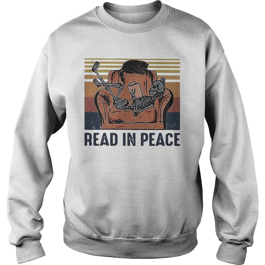 Vintage Skeleton Cat Read In Peace Sweater