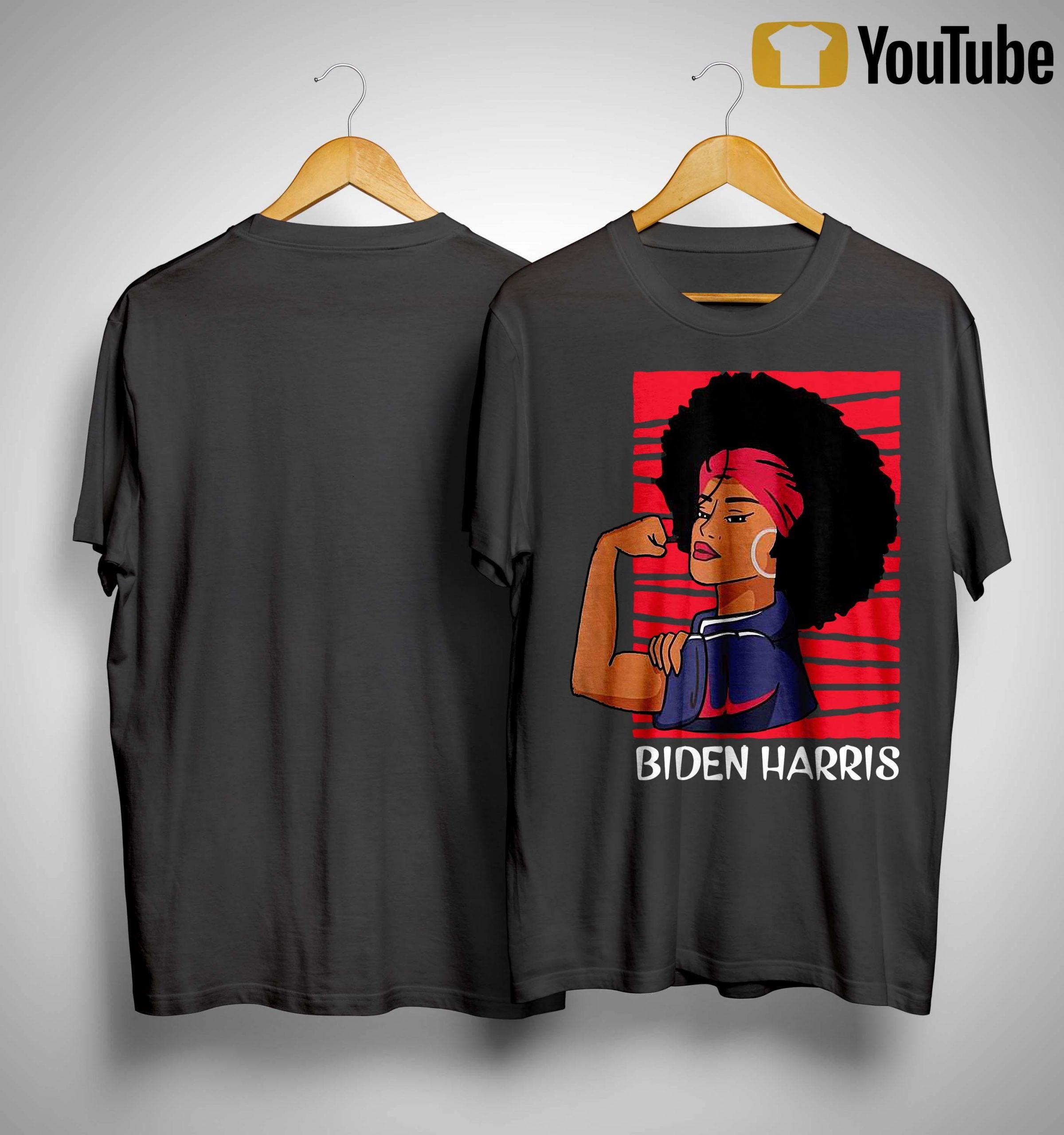 Biden Harris 2020 Black Afro Women In Rosie Riveter Shirt