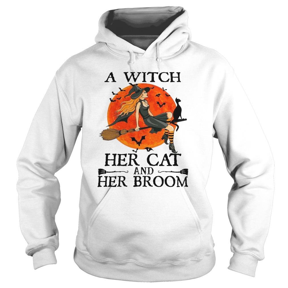 Halloween A Witch Her Cat And Her Broom Hoodie