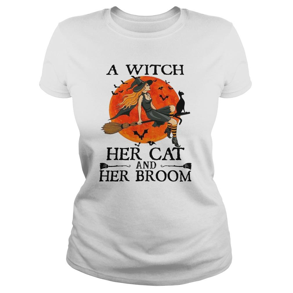 Halloween A Witch Her Cat And Her Broom Longsleeve