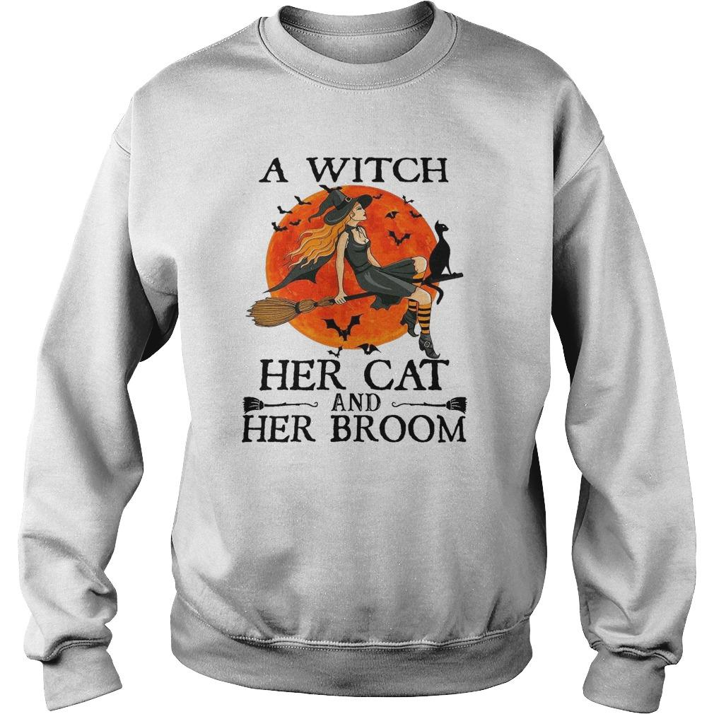 Halloween A Witch Her Cat And Her Broom Sweater
