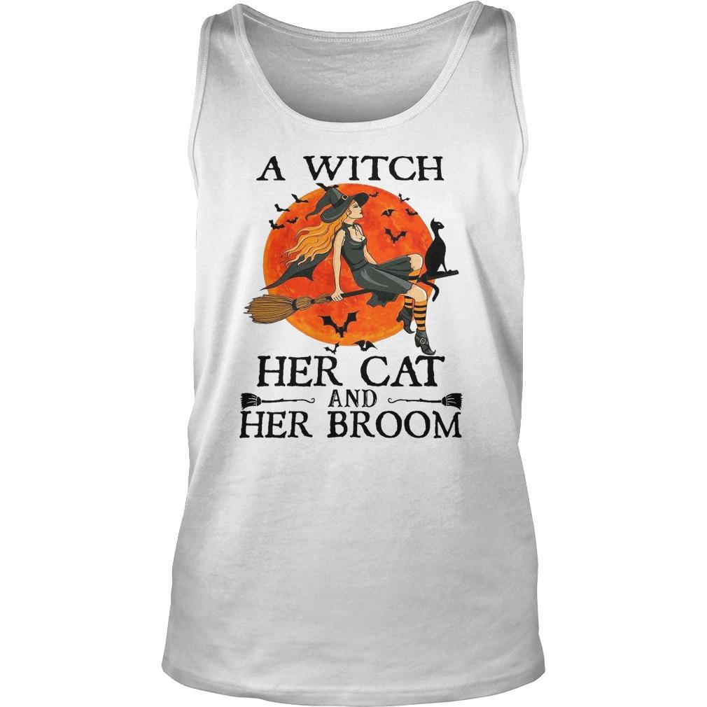 Halloween A Witch Her Cat And Her Broom Tank Top