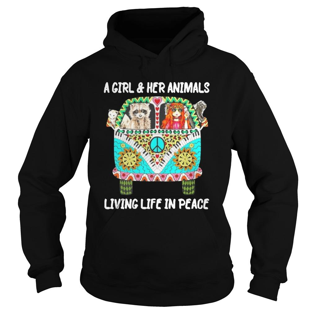 Racoon Hippie Car A Girl And Her Animals Living Life In Peace Hoodie