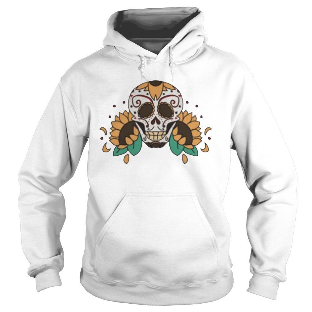 Skull Sunflowers Dia De Los Muertos Hoodie