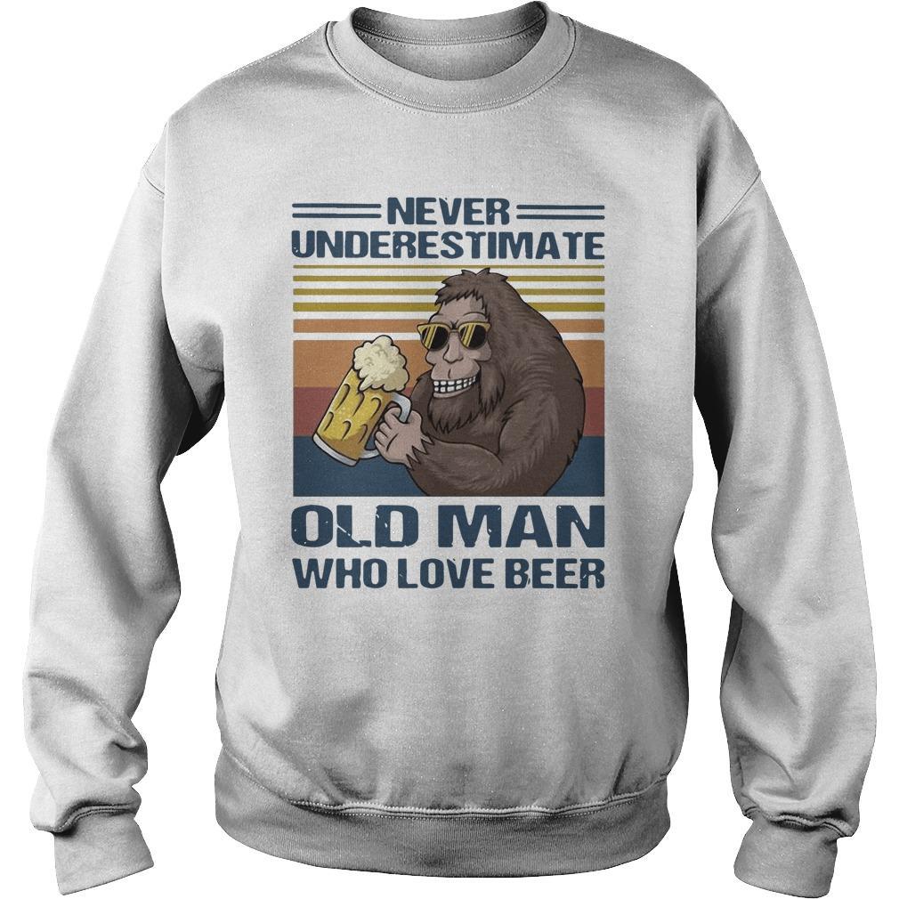 Vintage Bigfoot Never Underestimate Old Man Who Love Beer Sweater