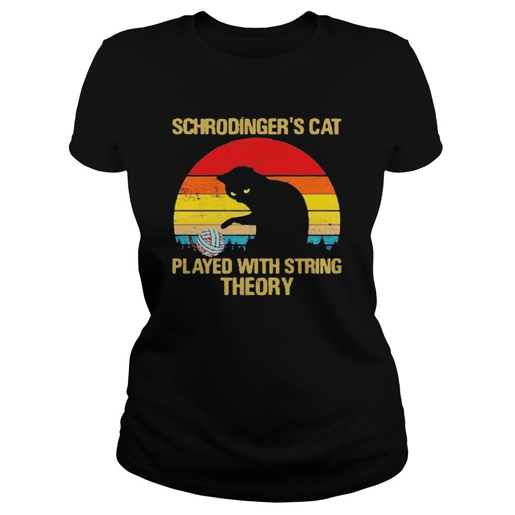 Vintage Schrodinger's Cat Played With String Theory Longsleeve