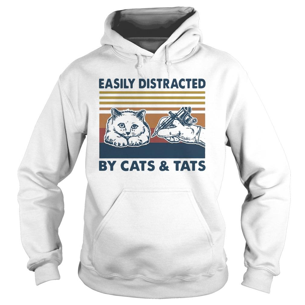 Vintage Tattooist Easily Distracted By Cats And Tats Hoodie