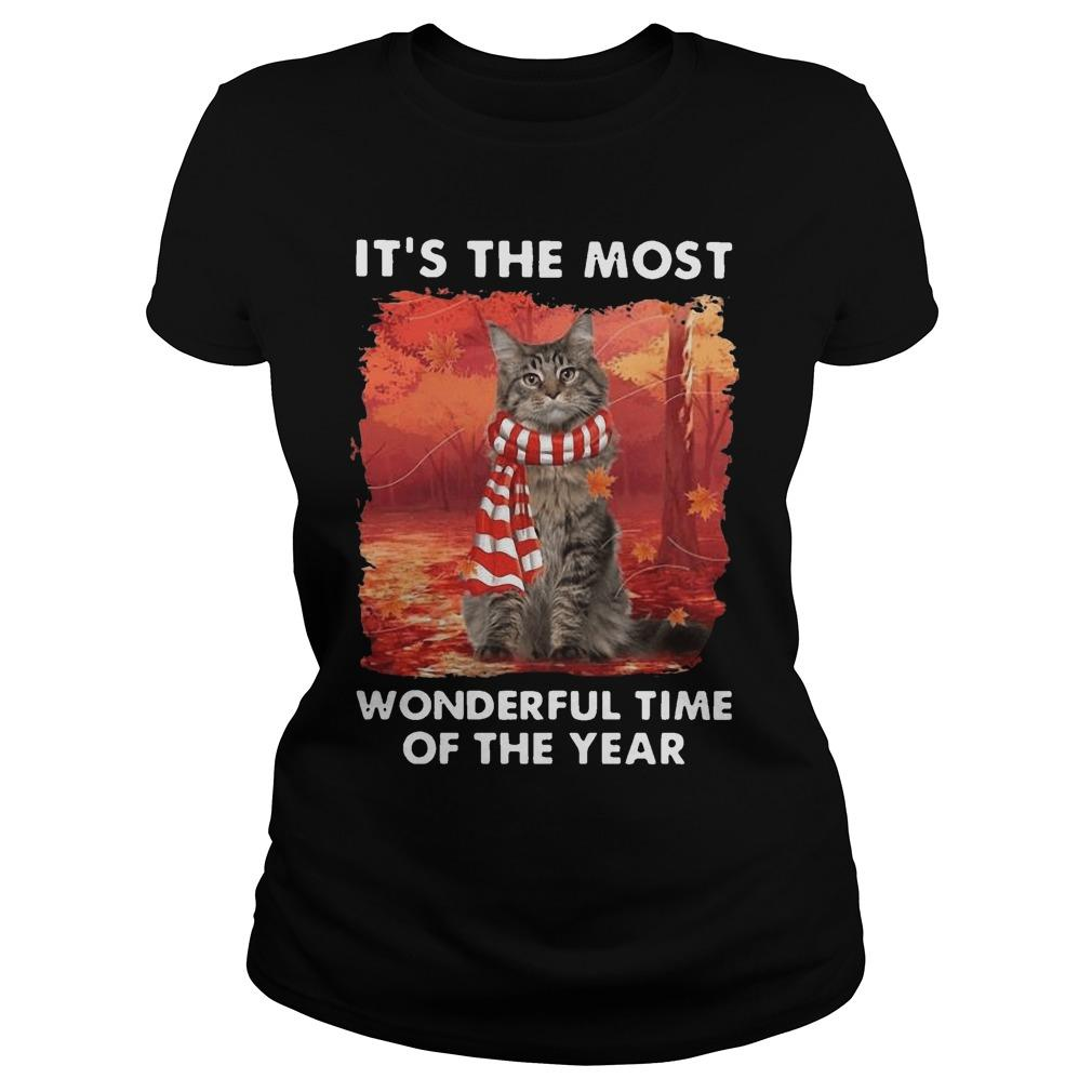 Maine Coon Autumn It's The Most Wonderful Time Of The Year Longsleeve