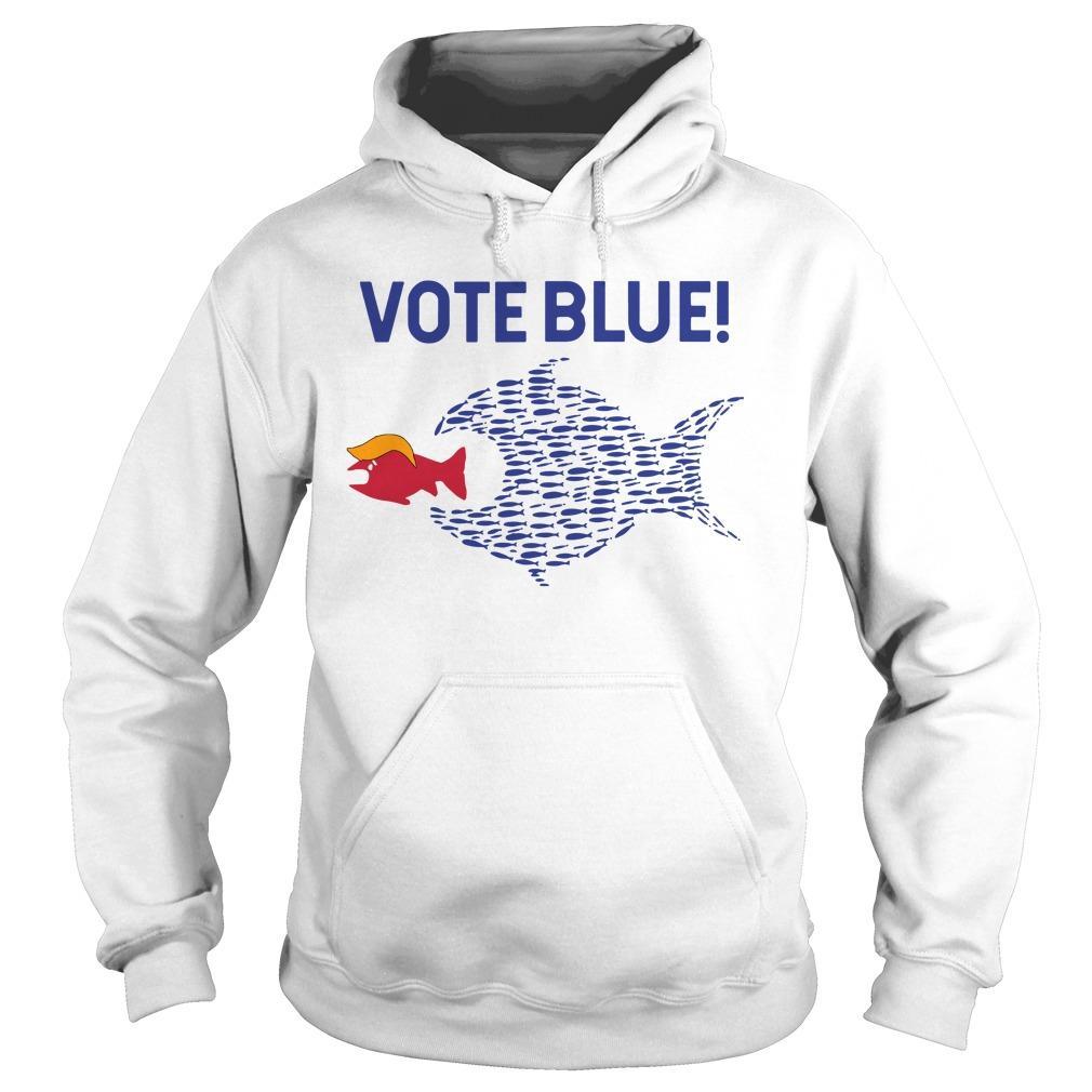 Trump Political Fish Eating Red Fish Vote Blue Hoodie