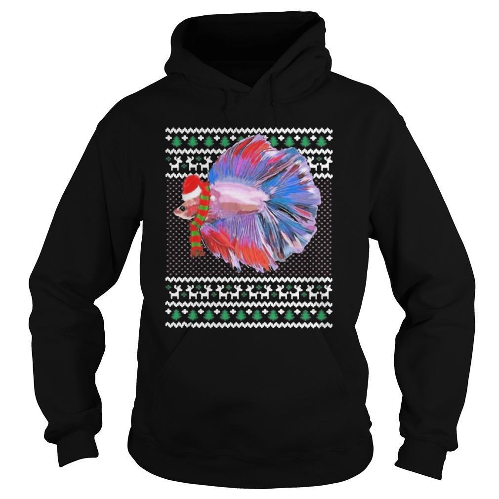 Ugly Christmas Santa Hat Betta Fish Hoodie