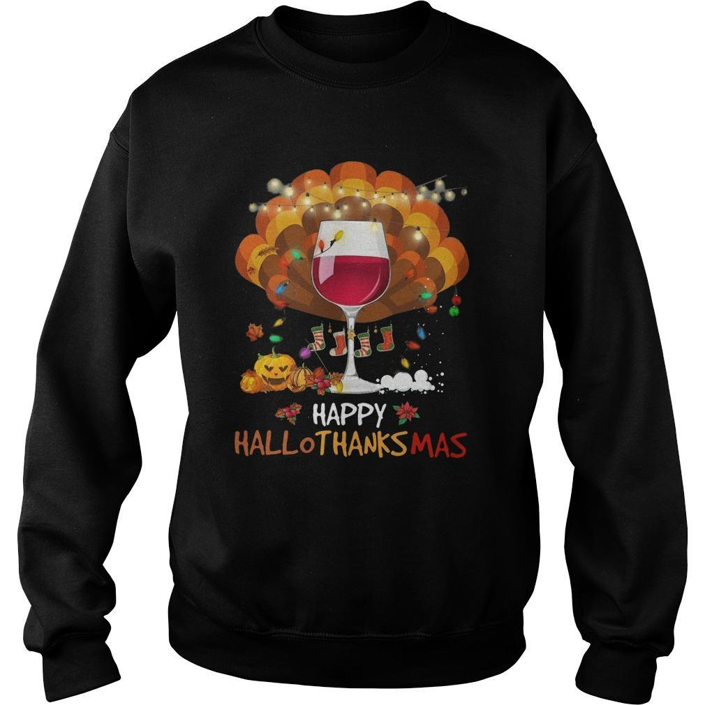 Wine Happy Hallothanksmas Sweater