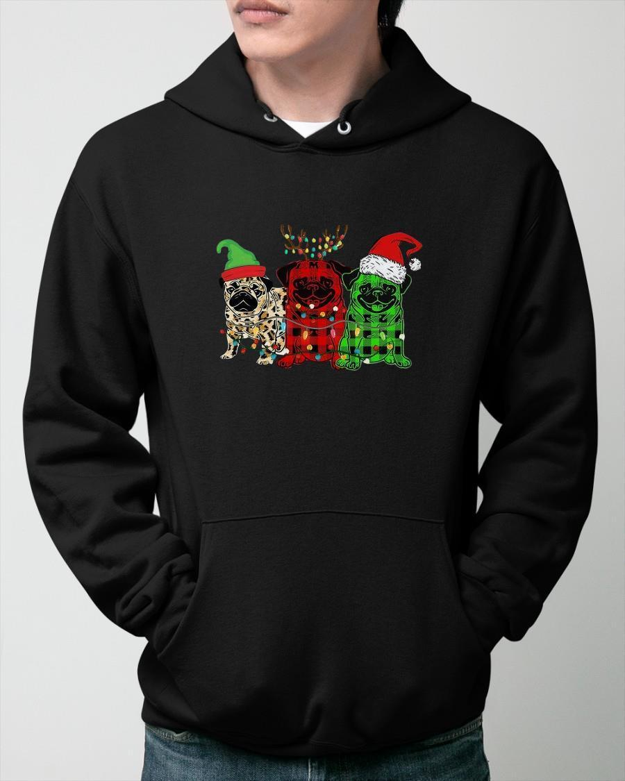 Pug Elf Reindeer Santa Christmas Lights Hoodie