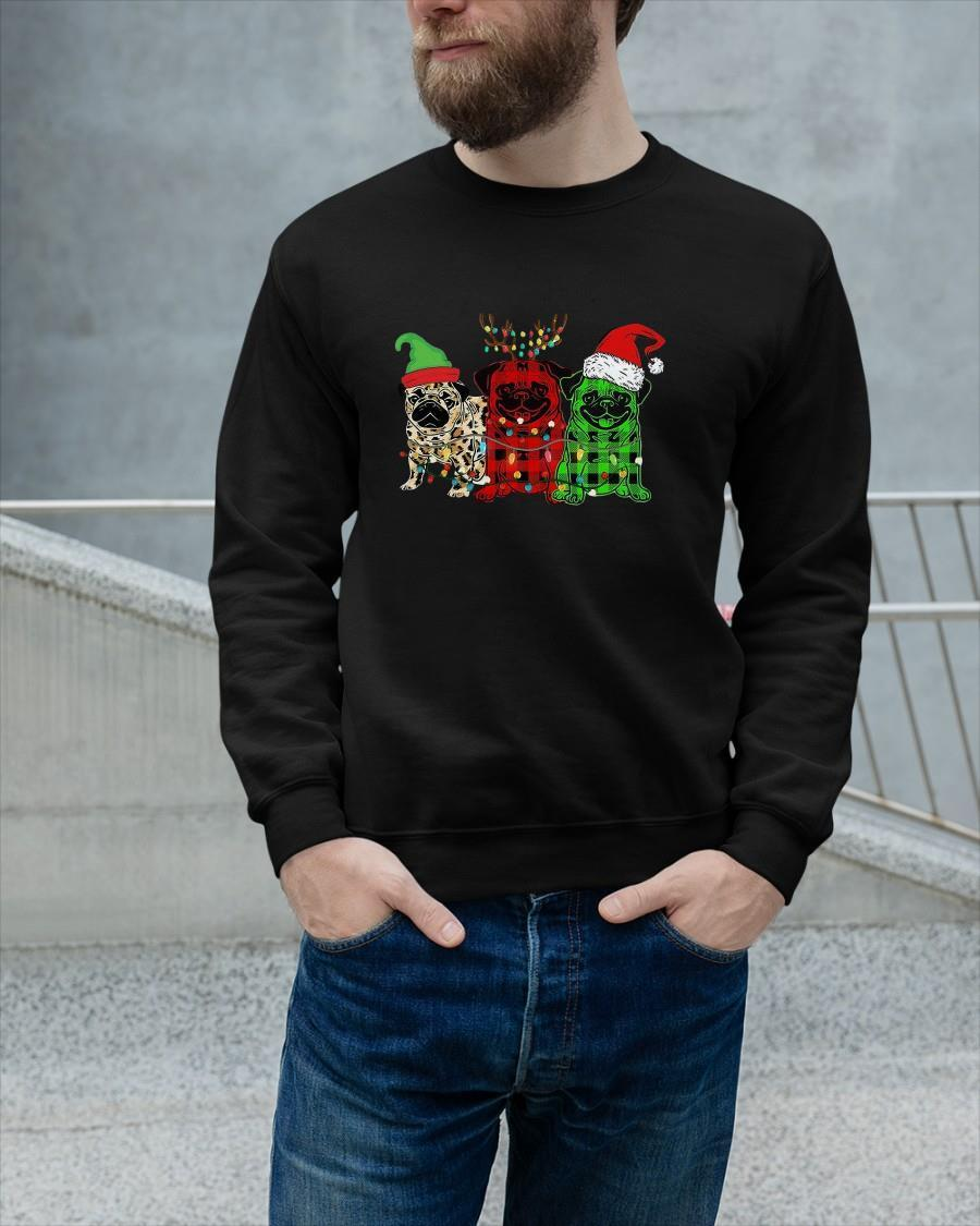 Pug Elf Reindeer Santa Christmas Lights Longsleeve