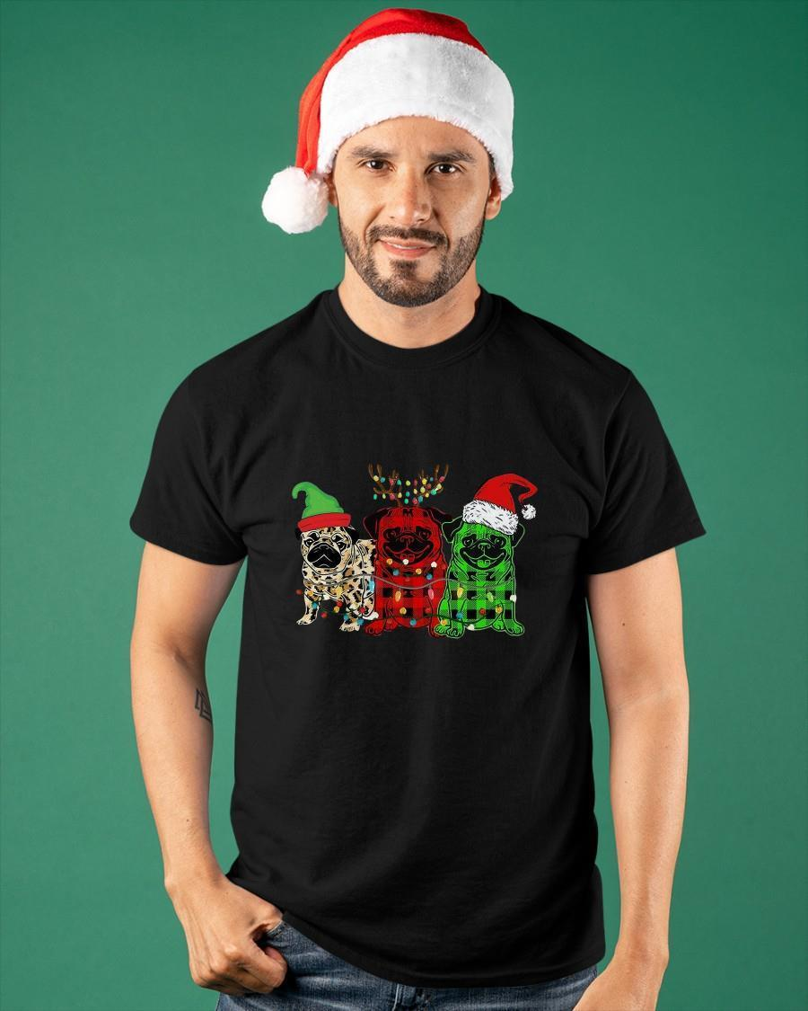 Pug Elf Reindeer Santa Christmas Lights Shirt